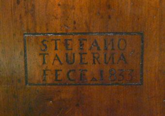 """Storica Farmacia in Zogno Bg, Firma sullo sportello del bancone dell'autore degli arredi """" STEFANO TAUERNA FECE 1833"""""""