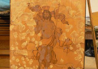 Borgo di Terzo BG. Fase della stuccatura, particolare di un pannello centrale dei dorsali.