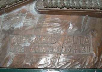 Plastico di Bergamo Alta in legno del 1934. Prima del restauro. Anno dello stato di fatto del plastico 1934  XII, rapp. 1:500