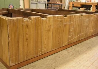 Plastico di Bergamo Alta in legno del 1934. Condizioni iniziali del basamento.