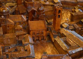 Plastico di Bergamo Alta in legno del 1934. Piazza Vecchia.