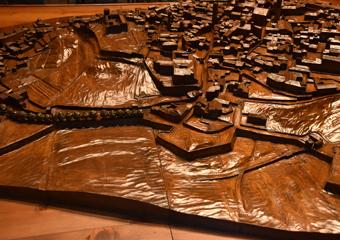 Plastico di Bergamo Alta in legno del 1934. Vista Porta San Lorenzo.