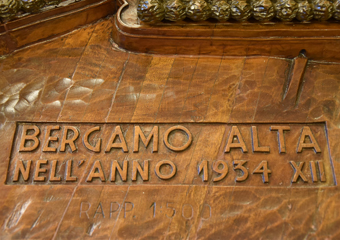 Plastico di Bergamo Alta in legno del 1934. Bergamo Alta nell'anno 1934 XII