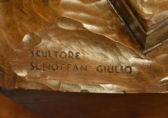 Plastico di Bergamo Alta in legno del 1934. Firma dello scultore SCHOFFAN GIULIO
