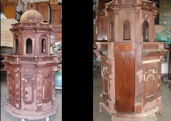 Parrocchia S. Faustino in Brembate. Durante il restauro fase di stuccatura, con una prova a destra di lucidatura.