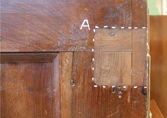 Parrocchia B.V. Annunziata in Ascensione di Costa Serina BG. Durante il restauro, assaggi di pulitura.
