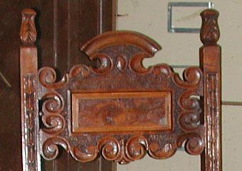 Sedie fratine XVI° sec. Dopo il restauro, particolare.